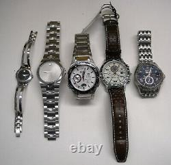 Lot of 5used/broken premium watches for repair or partsCitizen, Movado & Bulova