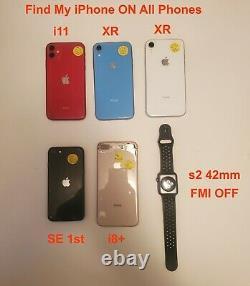 Lot of 6 Apple iPhone 11/XR/8+/SE/Watch s2 64GB Unlocked Please Read