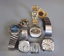Lot of 6 VULCAIN watches for parts or restoration