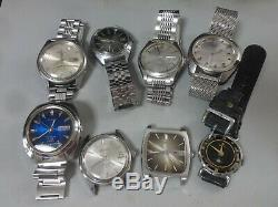 Lot of 8 Japan mechanical watches for parts Seiko Citizen Orient in 1950-70's