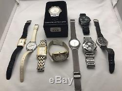 Lot of 9 Gentlemen's VINTAG Watches Some for Parts/Repair, Bulova, Timex, Benrus