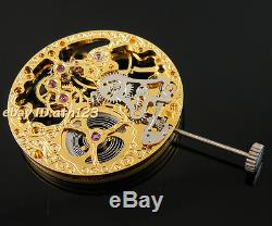Mechanical Gold Full Skeleton Hand Winding 6497 movement fit parnis watch P73