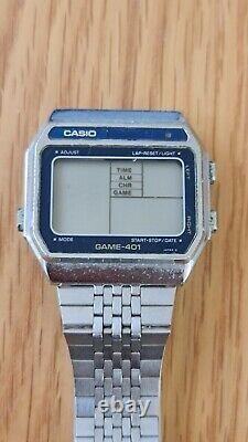 Mega rare Casio Game Gm-401 Module 245 Ufo Pyramid Digital Watch 1982 -Japan