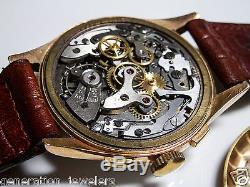 Men's 18k Solid Rose Gold Chronographe Suisse Antimagnetic 17 Rubis Watch Broken