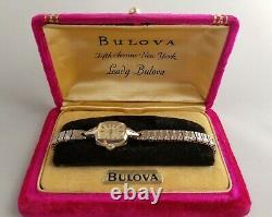 N2 LADY BULOVA Fifth Avenue NY 10K Rolled Gold Plated Swiss Watch, not working