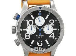 NEW Nixon 48-20 Chronograph Black Tan Leather Mens Watch A3631602 DAMAGED BOX