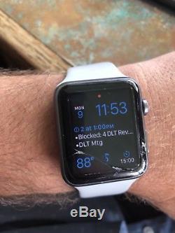 NO RESERVE! Apple Watch 42mm Aluminum Case Grey Band Broken Screen WORKS WELL