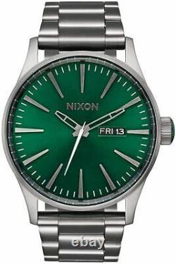 New $250 Nixon Men's'Sentry GUNMETAL Day Date Watch A356-2458 DAMAGED BOX
