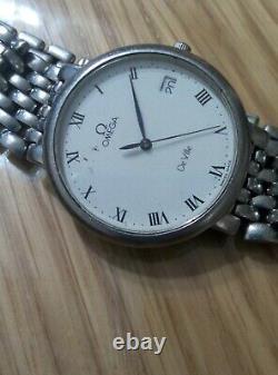 Omega DeVille Quartz Men's S. Steel Slim Watch Swiss Men's Watch For Parts/Repair