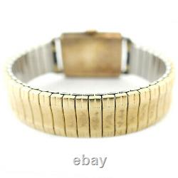 Omega Vintage Ivory Dial 14k Gold Filled Stretch Band Watch For Parts Or Repairs