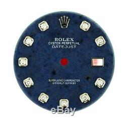 Original Men Rolex DJ 36mm 116139 116234 Blue Aventurine Stone Diamond Dial #A1