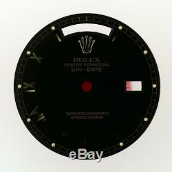 Original Men Rolex DayDate 36mm 18238 18038 Gloss Black Roman Dial 18KY #E4