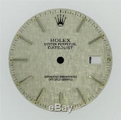 Original Men's Rolex Datejust QS 16200 16014 Linen Silver Stick Dial S/S #L38
