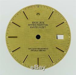 Original Men's Rolex Datejust QS 16233 16013 Linen Champagne Stick Dial 2/T #A17