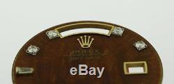 Original Men's Rolex Day-Date 18238 18038 8+2 Diamond Wood Stick Dial 18KY #D9