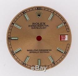 Original Rolex Midsize Datejust 68240 68274 Pink Luminous Stick Dial S/S #L26