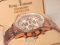 Orologio Cronografo Uomo Krug Baumen Oro Rosa 8 Diamanti Mov Seiko VD53 NUOVO