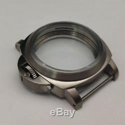 Parnis 44mm titanium brushed watch case Fit 6497/6498 movement suitable