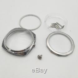 Polished watch case 47mm steel black carving Florence eta6497/6498 MOVT