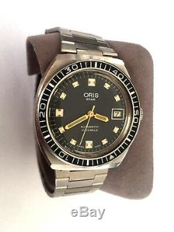 RARE! VINTAGE ORIS STAR 645 DIVERS AUTOMATIC 21j WRIST WATCH BLACK DIAL REPAIR