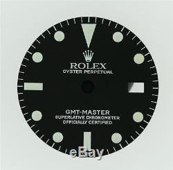 Rare! NOS! Original Men's Rolex GMT-MASTER Matt Black 1675 Service Dial S/S #D16