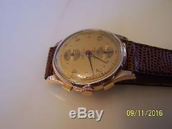 Rare Original Swiss Jumbo 18k Gold Chronographe Suisse Watch for Wear Or parts