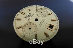 Rare Vintage Heuer Montreal Automatic Chronograph Dial Ref 110.505ch Cal 12 Gold