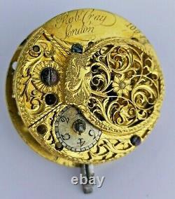 Robert Gray London Verge Pocket Watch Movement for Parts or Restoration (J62)