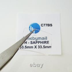 Sapphire Watch Crystal For TAG HEUER MONACO 33.5mm X 33.5mm Spare Part C77BS