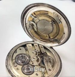 Swiss Double Dial Moon Phase Calendar Pocket Watch Signed K&M For Parts Only