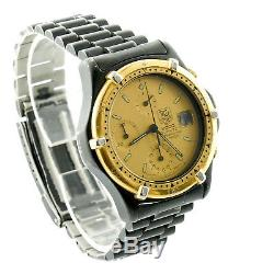 Tag Heuer 266.006-1 Gold Dial 2000 Chrono Black Pvd S. S. Watch For Parts/repairs