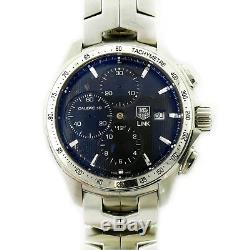 Tag Heuer Link Cat2010 Black Dial Stainless Steel Chrono Watch For Parts/repairs