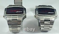 Two Wittnauer Polara Red LED Men's Watches, For Parts or Repair, Partially Work
