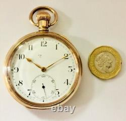 VINTAGE J. W Benson 10ct Rolled Gold Plated Half Hunter Pocket Watch NOT WORKING