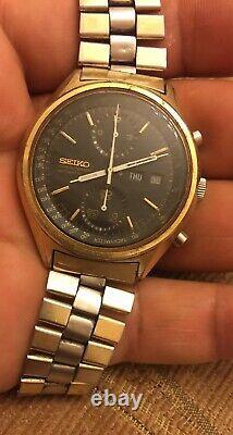 VINTAGE Rare Seiko Panda Black 6138-8020 Chronograph Automatic Watch For Parts