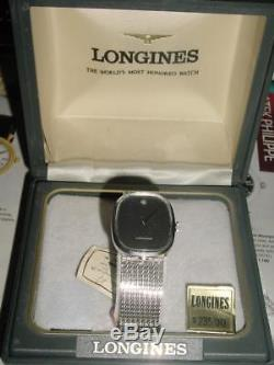 Vintage 1960s LONGINES 10k White Gold pl mens Dress watch New old stock in Box