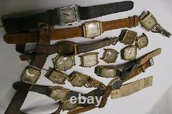 Vintage Art Deco Mens Watches Lot of 17 for Parts, Scrap or Repair