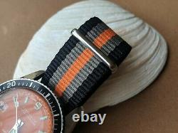 Vintage Bercona Sport Diver Watch withOrange Dial, Red Date, Runs FOR PARTS/REPAIR