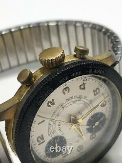 Vintage CIMIER Sport World Time Chronograph Watch Swiss Panda For Repair / Parts