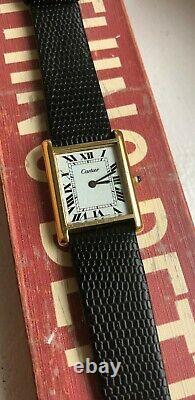 Vintage Cartier Tank Roman Numeral Dial Manual Wind Watch For Parts/ Repair