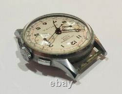 Vintage Chronographe Suisse 17 Rubis Palma Wrist Watch For Parts Or Repair