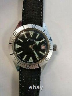Vintage Endura Diver Style Men's Date Watch from 1960's for parts or restoration