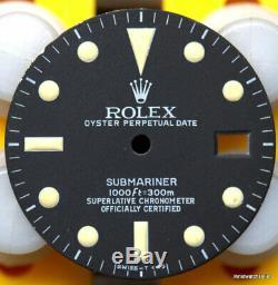 Vintage Genuine Rolex Submariner 16800 Matte Black & Cream Tritium Singer Dial