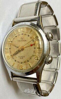 Vintage HELBROS BREVET 233 Alarm Manual Wind Men's Watch Parts Repairs