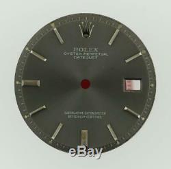 Vintage Men's Rolex 36mm Datejust NQ 1601 1603 Chalcoal Grey Stick Dial S/S #Y4