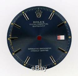 Vintage Men's Rolex 36mm Datejust NQ 1601 1603 Royal Blue Stick Dial S/S #Y2