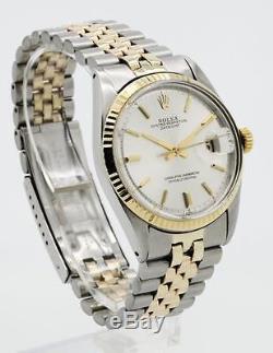 Vintage Men's Rolex Datejust 1601 Pie-Pan Silver dial 18KY Fluted Bezel 2/T #09