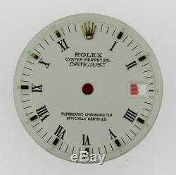 Vintage Men's Rolex Datejust NQ 1600 1601 1603 Flat White Roman Dial 2/T #C25