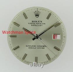 Vintage Men's Rolex Datejust NQ 1600 1601 1603 Silver Stick Dial & Hands SS #D55