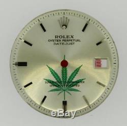 Vintage Men's Rolex Datejust NQ 1601 1603 Silver Stick Green Leaf Dial S/S #A32